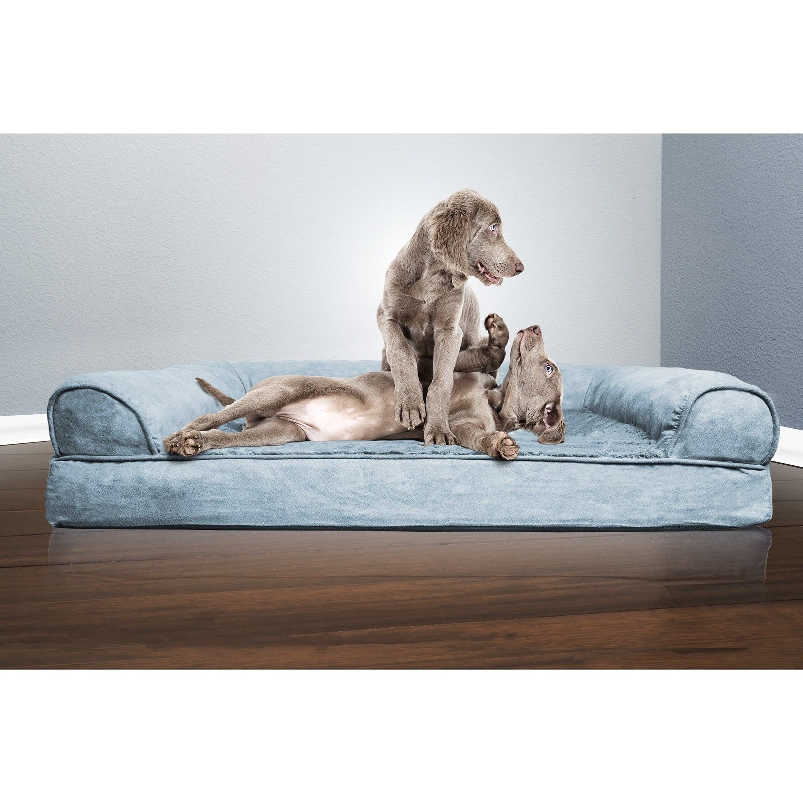 Large Dog Bed Sofa Pet Luxury Plush Suede Orthopedic Bolster Cushion Puppy Blue
