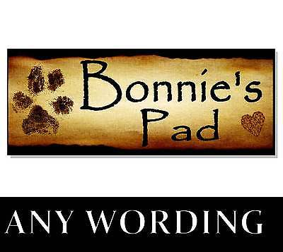 Personalised name dog acrylic sign plaque house kennel bed for Plaques adhesives cuisine