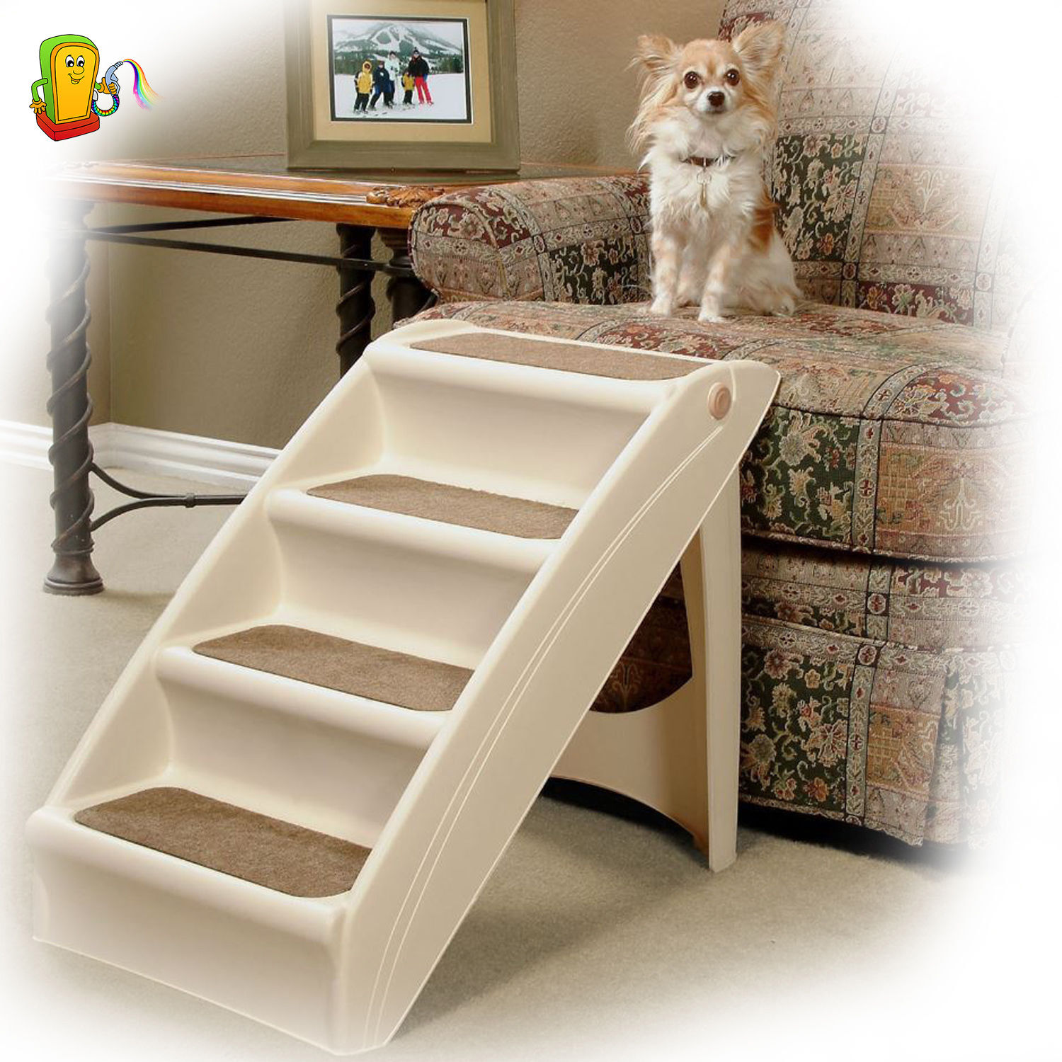 Folding Pet Stairs Dog Cat Step Ramp Ladder Small Portable For Tall Beds  Travel